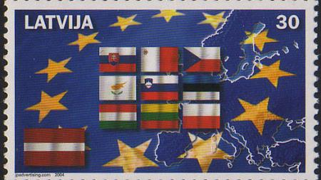 Latvia postage stamp showing new EU members