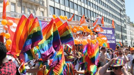 Pride parade in France with people and rainbow LGBTQ pride flags