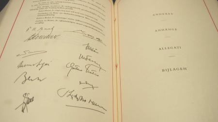 Two pages of Treaty of Rome with signatures