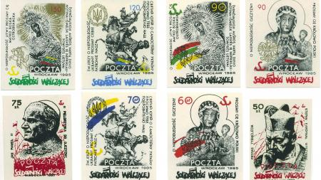 Eight Solidarność stamps that depict sculptures and religious figures