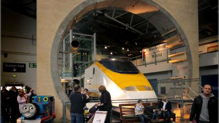 Image of the Eurostar train and tunnel section in railway museum