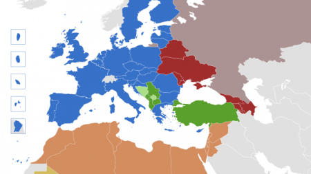 Image of map of Europe and North Africa with EU highlighted blue and Eastern and Southern countries highlighted in varying colors.