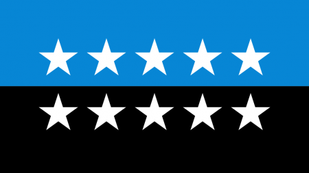 Flag that is half blue half black with ten white stars