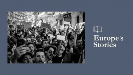 Image of black and white protest with Europe's Stories logo
