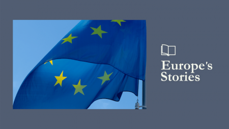 Image of European flag and Europe's Stories logo