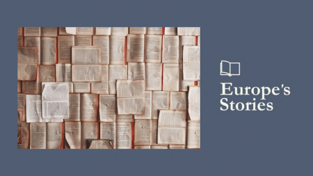 Image of pages with text and Europe's Stories logo