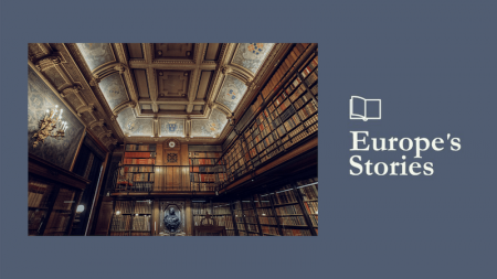Image of large library and Europe's Stories logo