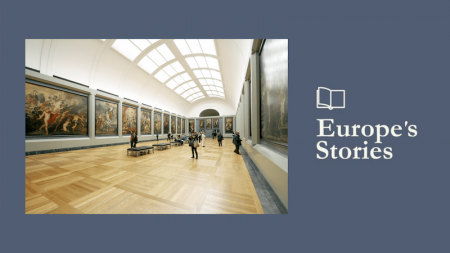 Image of museum hallway with Europe's Stories logo