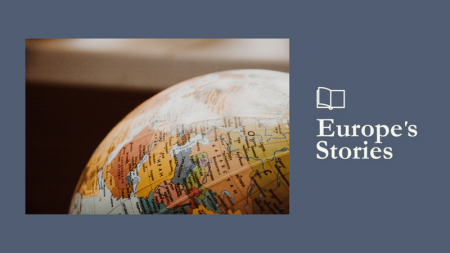 Image of map of Europe with multiple strings and points and Europe's Stories logo
