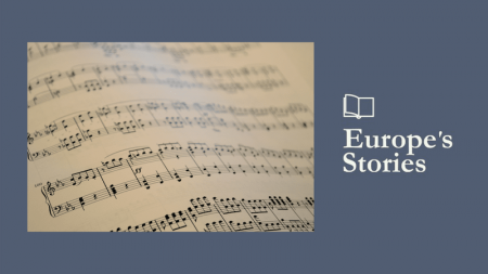 Image of musical notes and Europe's Stories logo